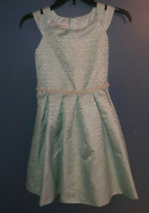 Girls 12 Bonnie Jean Aqua Pearl brocade Dress Church Easter Special Occassion