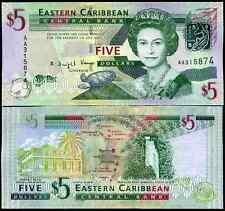 Eastern Caribbean, Five Dollars, First series AA, (2008), Almost Uncirculated.