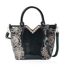 Green Faux Leather Handbag Purse Satchel Bag with Detachable Shoulder Strap