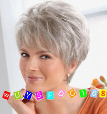 Fashion Women's ladies short Silver Grey Natural Hair full wigs+Wig cap