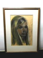 Magnificent Rare 1969 Portrait Painting of a Woman - Signed/Framed
