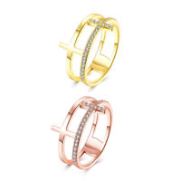 18K Rose Gold Plated Fashion Ring AAA Zirconia Cross For Women B232