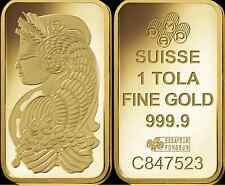 Fifty (50) PAMP Suisse ONE TOLA Gold Bars = 18.75 oz of gold + FREE shipping