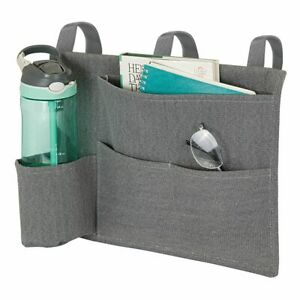 mDesign Fabric Bedside Hanging Storage Organizer Caddy Pocket - Dark Gray