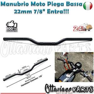 "Manubrio Moto Naked Cafe Racer Custom Piega Bassa 22 Universale 22mm 7/8"" MPB3"