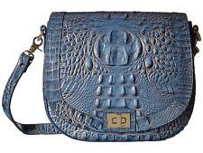 ❤️BRAHMIN SONNY SATELLITE BLUE GOLD CROSSBODY SADDLE BAG FLAP CROC EMB LEATHER❤️