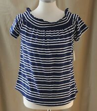 Liz Claiborne Petite, PL, Poolside Party, Navy Stripe Knit Top, New with Tags