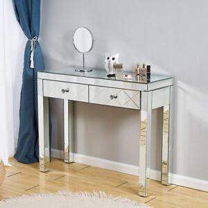 2 Drawers Mirrored Dressing Table Vanity Makeup Beauty Desk Bedroom Furniture UK