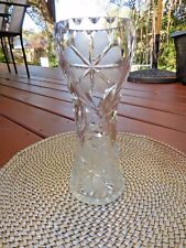 "Gorgeous BRILLIANT CUT GLASS Crystal CORSET VASE Floral Leaf  9.5"" Pristine"