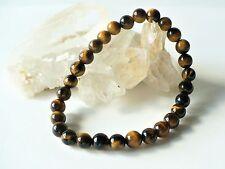 Bracelet en perles d'œil de tigre 6 mm - jaune marron pierre fine gemme oeil