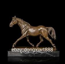 32 CM Western Art Deco Bronze Marble Walk Horse Equine Art Ornament Sculpture