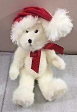 "Boyds Bears White Sparkle Christmas Bear 12"" w/Santa hat 1988-2005"