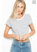 Brandy melville White/black striped crewneck ringer Margie Top NWT S/M