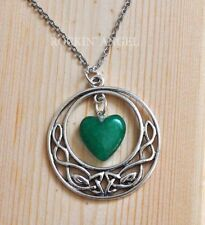 Antique Silver Pl Celtic & Jade Heart Pendant Necklace Ladies GIft Reiki Healing