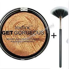 Technic Get Gorgeous 24ct GOLD Highlighting Powder Bronzer Bronzing + FAN BRUSH