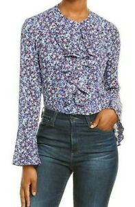 KARL LAGERFELD Size XL Ruffle Neck Ultramarine Button Shirt Top Blouse NWT