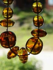 "Rare Vintage  Honey Cognac Amber Beaded Necklace, 150 g,  28"" long"