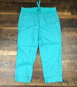 Lucy Activewear Turquoise Linen Blend Pull On size S Crop Capri Women's Pants