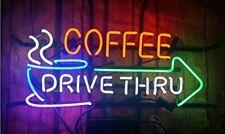 "Coffee Drive Thru Open Neon Light Sign 17""x14"" Beer Bar Glass Decor Window Wall"