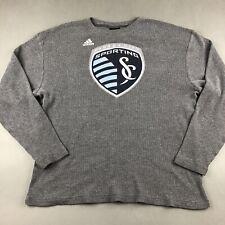 Adidas MLS Sporting KC Soccer Club Gray Waffle Shirt Long Sleeve Mens Size XL