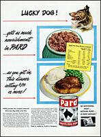 1949 Lucky Collie dog Pard Swift's dog food steak vintage art print ad adL46