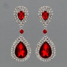 Rhodium Plated Ruby Red Crystal Rhinestone Wedding Drop Dangle Earrings 04825