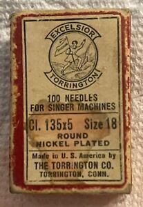 Vintage  Excelsior Torrington Singer Sewing Machine Needles No. 18 135x5 Box Of.