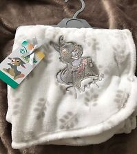 Brand New With Tags Disney Baby Thumper Soft Blanket Primark In White And Grey