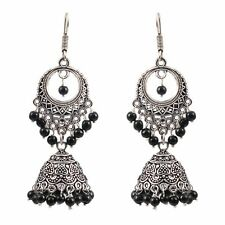 Indian Silver Plated Oxidized jhumka jhumki Black pearls Earrings for Women