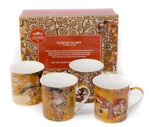 Gustav Klimt Mug Set of 4 China Mugs With Colourful Designs Presented in GiftBox