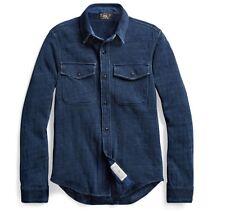 $295 RRL Ralph Lauren Vintage Inspired Indigo Knit Linen Cotton CPO Shirt-MEN- M