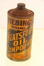 Early Vintage Fiebing's Neatsfoot Oil Compound Milwaukee WI Wisconsin Can Quart