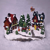 Christmas Winter Village Scene Ornaments Musical LED Moving Xmas Decoration