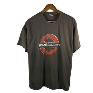 The Underground Logo Tee London Metro Railway Train England Fade T-shirt Large L