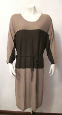 $328 W by WORTH Knit Dress M NWT Tumbleweed Coco Brown Colorblock Dolman Sleeve