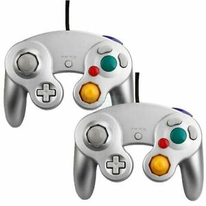 Lot of 2 Silver Shock Game Controller Pad for GC Wii For Gamecube