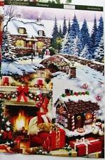 A4 Sheet of Card Toppers Gingerbread House Cottage Fire Place 3 pictures