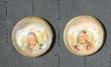 48-35 - vintage glass dome rosettes INDIAAN CHIEF JOSEPH