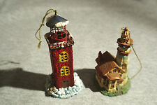 "Set of 2 different lighthouse Christmas ornaments 3 1/2-4"" high"