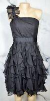WHITE HOUSE BLACK MARKET Black One Shoulder Strapless Dress 4 Ruffle Skirt Lined