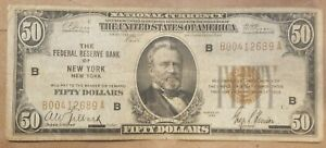 1929 $50 Federal Reserve Bank Note New York FRBN national FR 1880-B