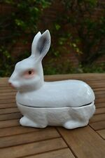 More details for vintage french michel caugant majolica pottery rabbit lidded dish bowl pot