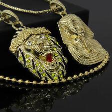 "14k Gold Plated Pharaoh & Lion Cz Bundle Pendant 24"" & 30"" Box & Free Chain Link"
