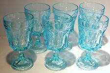 6 Fairfield Aqua Blue Water Glasses 9 Oz.Turquoise  Blue Glass Anchor Hocking