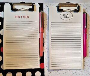 Clipboard Notepad & Pen - A5 Hardboard - 60 Sheets - Nice Gift Idea - Metal Hook