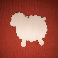 10 pcs SHEEP  EASTER SHAPE WOODEN PLAIN UNPAINTED HANGING SHAPE CRAFT TAG