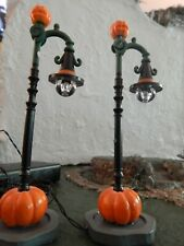 Halloween Pumpkin STREET LIGHT set of 2, REAL Lights! for Dept 56 Lemax VILLAGE