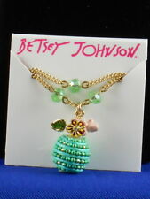 Betsey Johnson Goldtone PARADISE LOST Green Beaded Apple Two Row Necklace $38