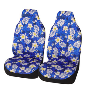 Blue Front Car Seat Covers White Flower Pattern Back Bucket Interior Protector