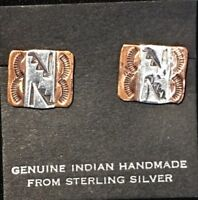 Native American Navajo .925 Sterling Silver Copper Hand Stamped Earrings